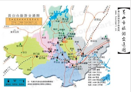 Mount Huangshan self driving tourism route map